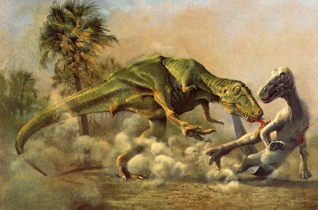 Edmondosaurus predator T rex attack on EDMONTOSAURUS dino2