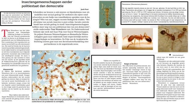 Insectengemeenschappen eerder politiestaat dan democratie