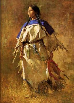 plains indian woman with shield Iw11