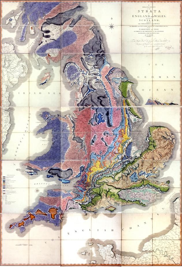 Eerste geologische kaart van UK ... geboorte van de stratigraphy