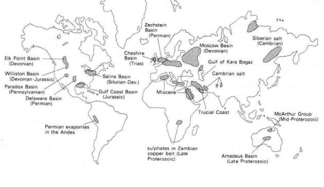 Major Phanerozoic Evaporite Deposits
