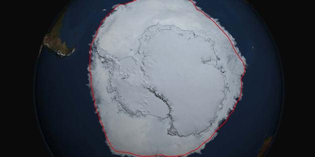 OP DE FOTO zie je meer dan 20 miljoen vierkante kilometer zee-ijs. De rode lijn duidt de gemiddelde maximale hoeveelheid zee-ijs in de periode tussen 1979 en 2014 aan.